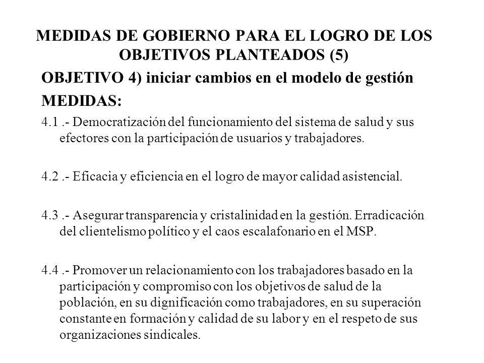 OBJETIVO 4) iniciar cambios en el modelo de gestión MEDIDAS: 4.1.- Democratización del funcionamiento del sistema de salud y sus efectores con la part