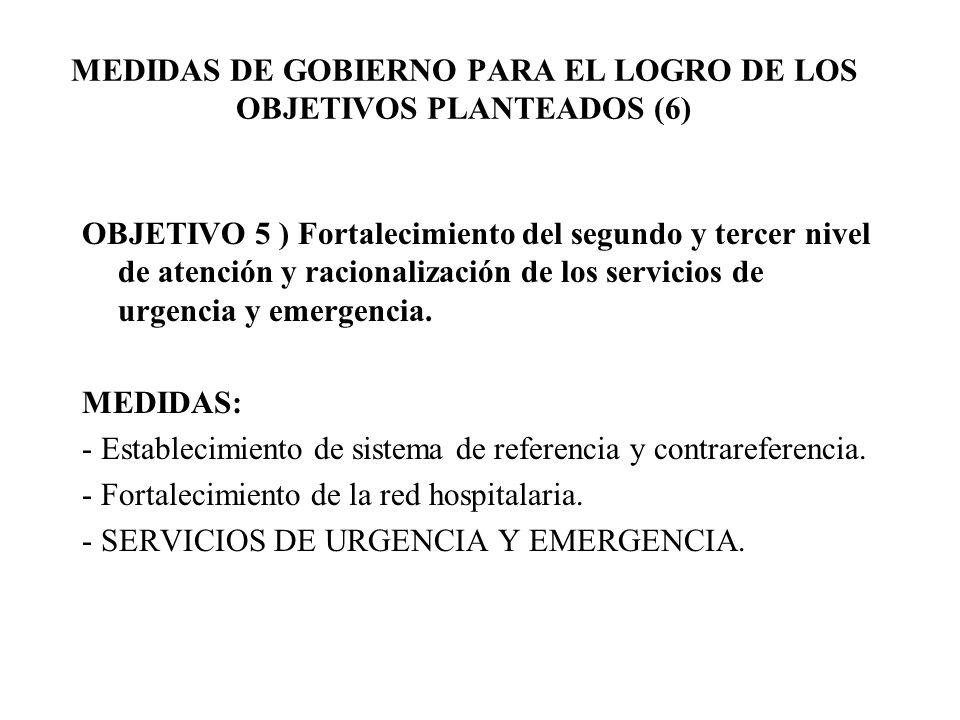 OBJETIVO 5 ) Fortalecimiento del segundo y tercer nivel de atención y racionalización de los servicios de urgencia y emergencia. MEDIDAS: - Establecim