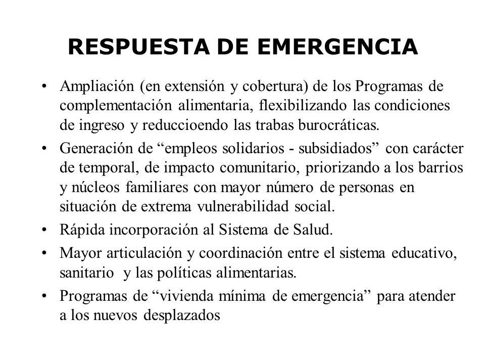 RESPUESTA DE EMERGENCIA Ampliación (en extensión y cobertura) de los Programas de complementación alimentaria, flexibilizando las condiciones de ingreso y reduccioendo las trabas burocráticas.