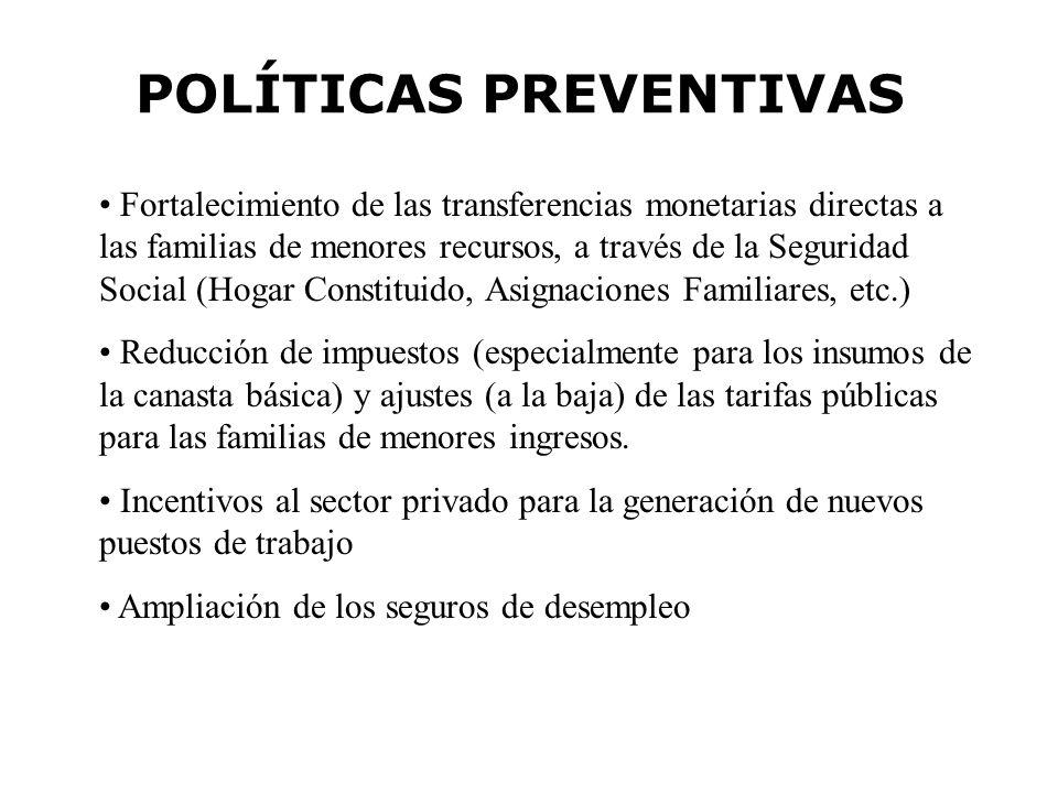 POLÍTICAS PREVENTIVAS Fortalecimiento de las transferencias monetarias directas a las familias de menores recursos, a través de la Seguridad Social (H