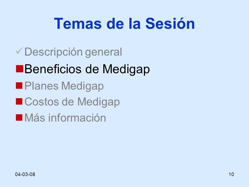 04-03-0810 Temas de la Sesión Descripción general Beneficios de Medigap Planes Medigap Costos de Medigap Más información