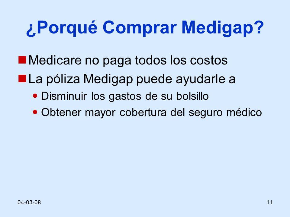 04-03-0811 ¿Porqué Comprar Medigap? Medicare no paga todos los costos La póliza Medigap puede ayudarle a Disminuir los gastos de su bolsillo Obtener m