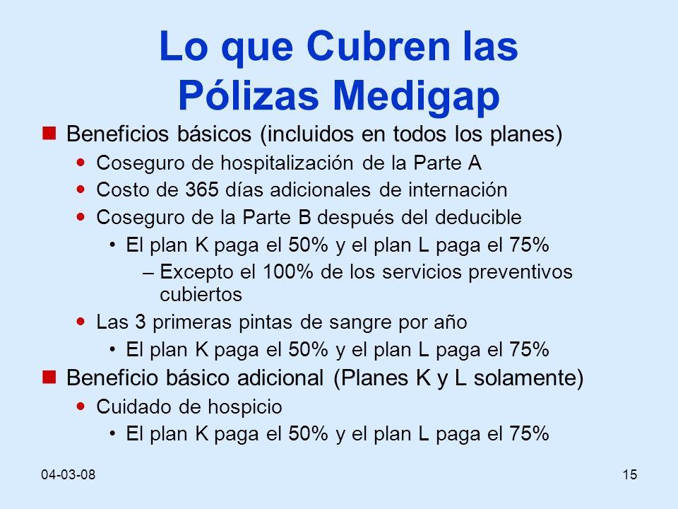 04-03-0815 Lo que Cubren las Pólizas Medigap Beneficios básicos (incluidos en todos los planes) Coseguro de hospitalización de la Parte A Costo de 365