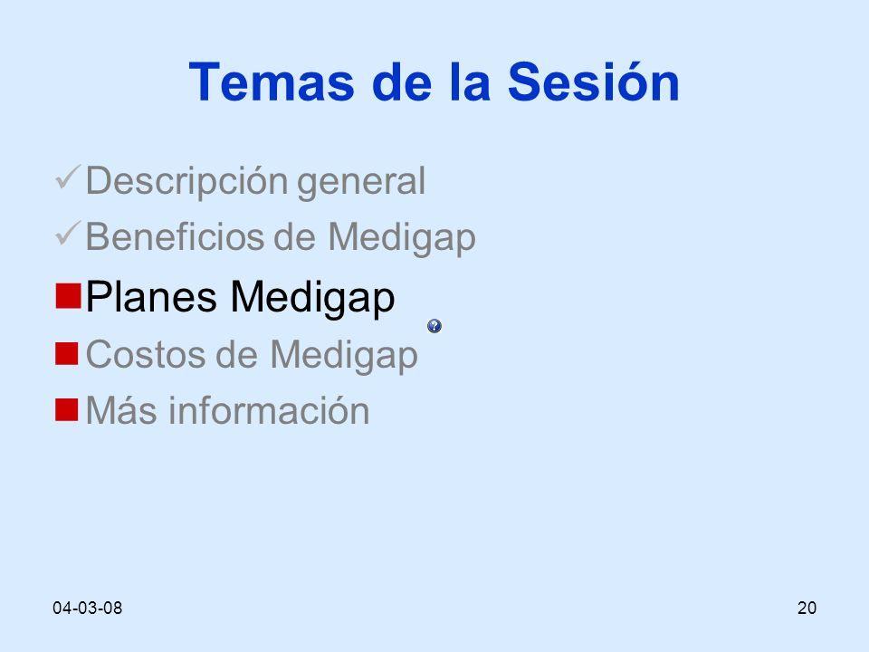 04-03-0820 Temas de la Sesión Descripción general Beneficios de Medigap Planes Medigap Costos de Medigap Más información