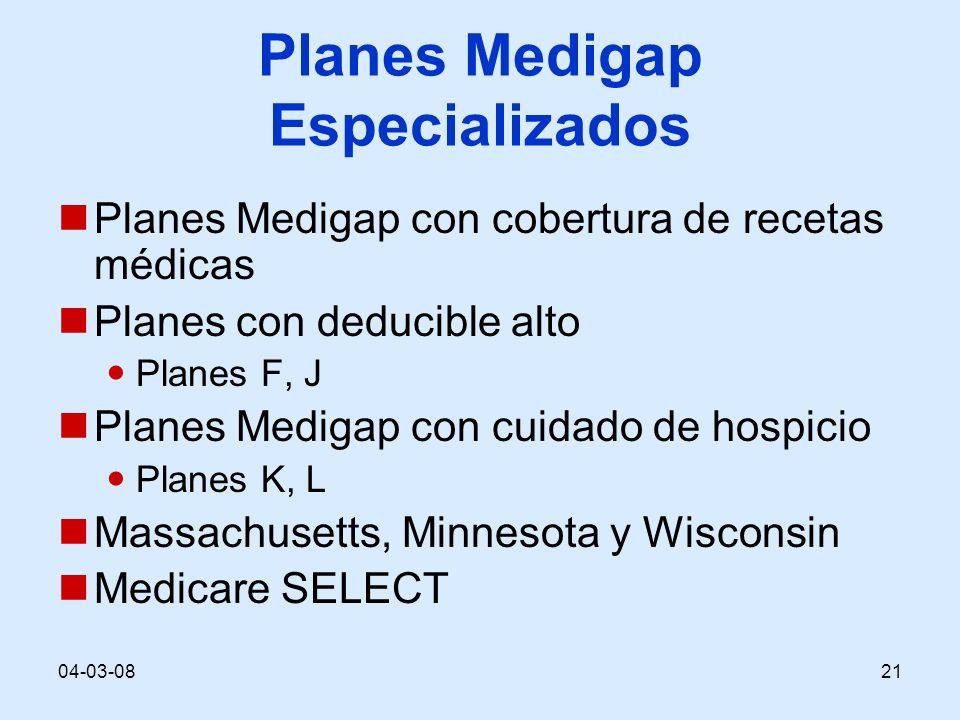 04-03-0821 Planes Medigap Especializados Planes Medigap con cobertura de recetas médicas Planes con deducible alto Planes F, J Planes Medigap con cuid