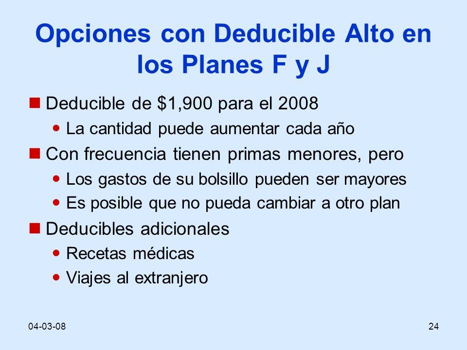 04-03-0824 Opciones con Deducible Alto en los Planes F y J Deducible de $1,900 para el 2008 La cantidad puede aumentar cada año Con frecuencia tienen