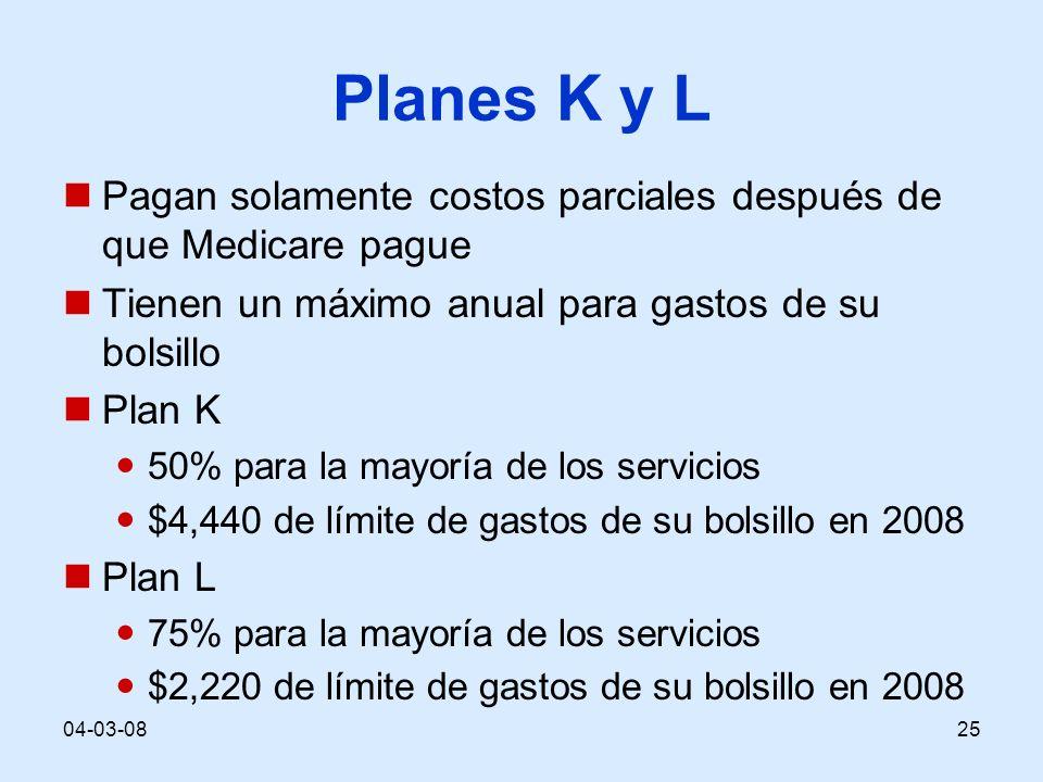 04-03-0825 Planes K y L Pagan solamente costos parciales después de que Medicare pague Tienen un máximo anual para gastos de su bolsillo Plan K 50% para la mayoría de los servicios $4,440 de límite de gastos de su bolsillo en 2008 Plan L 75% para la mayoría de los servicios $2,220 de límite de gastos de su bolsillo en 2008
