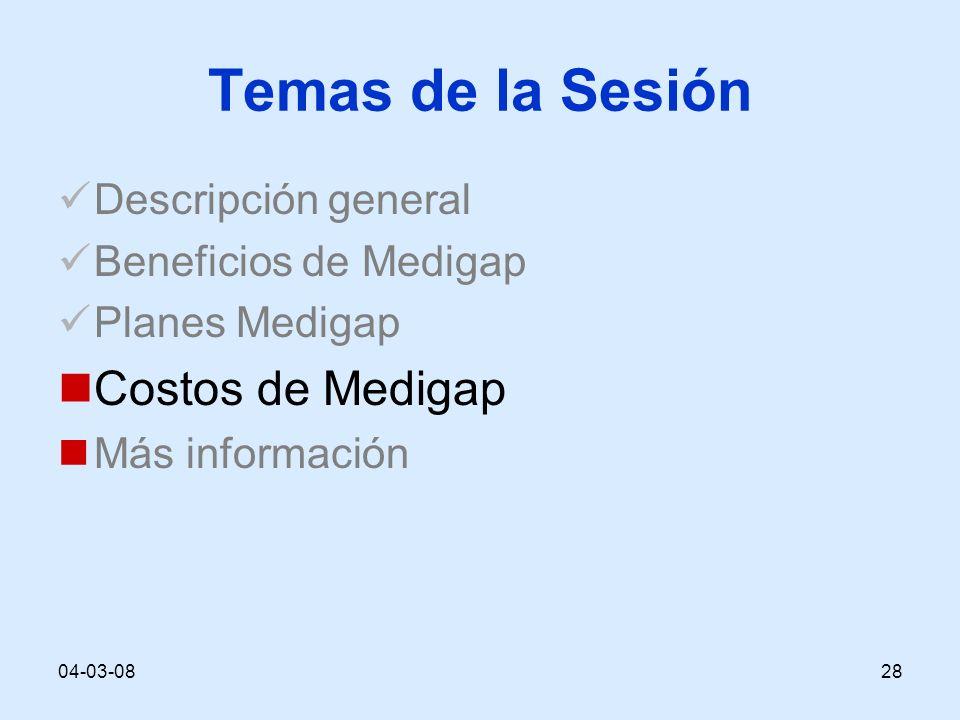 04-03-0828 Temas de la Sesión Descripción general Beneficios de Medigap Planes Medigap Costos de Medigap Más información