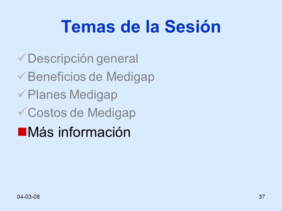 04-03-0837 Temas de la Sesión Descripción general Beneficios de Medigap Planes Medigap Costos de Medigap Más información