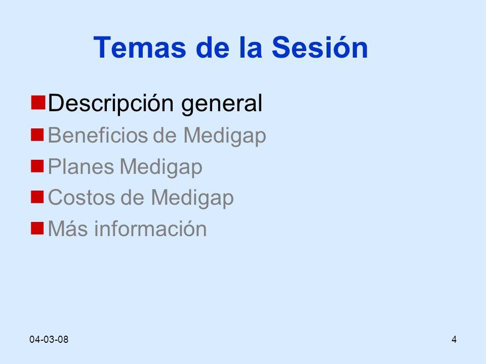 04-03-084 Temas de la Sesión Descripción general Beneficios de Medigap Planes Medigap Costos de Medigap Más información