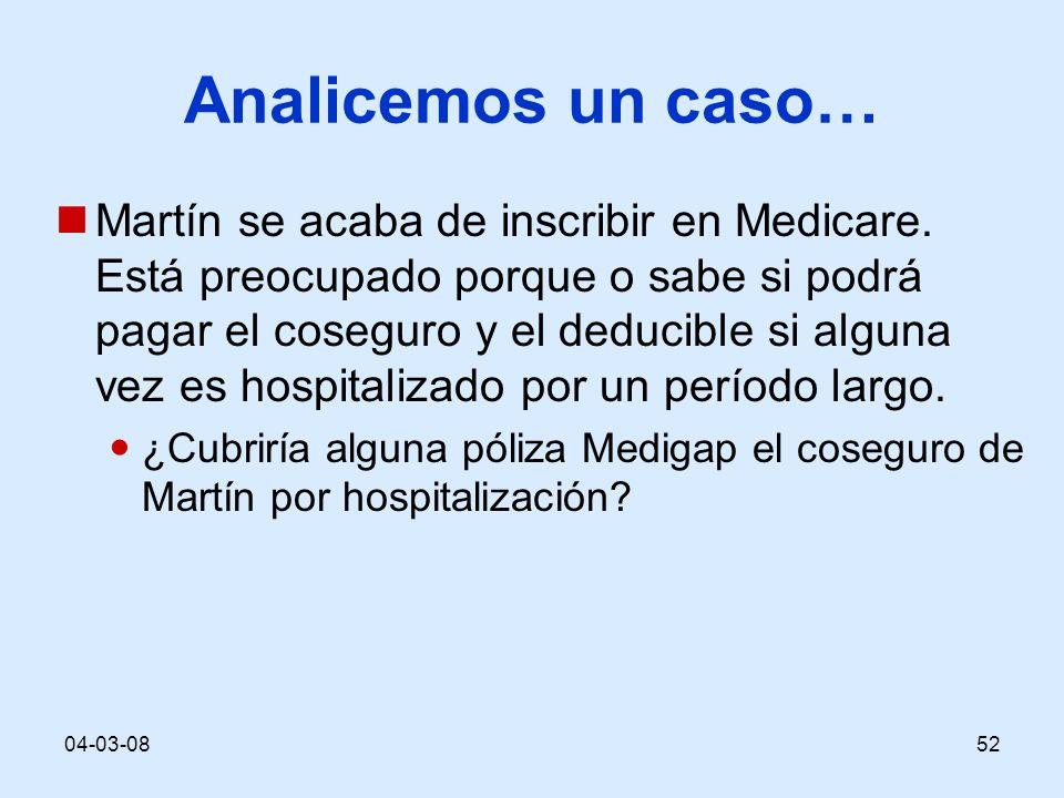 04-03-0852 Analicemos un caso… Martín se acaba de inscribir en Medicare. Está preocupado porque o sabe si podrá pagar el coseguro y el deducible si al