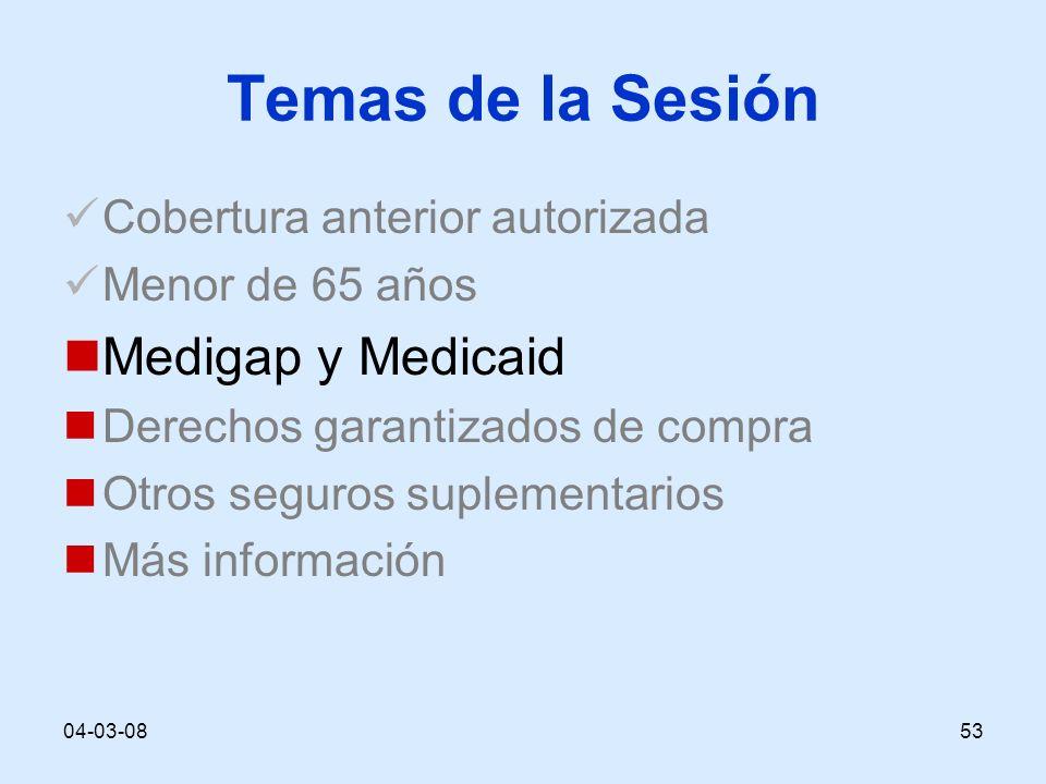 04-03-0853 Temas de la Sesión Cobertura anterior autorizada Menor de 65 años Medigap y Medicaid Derechos garantizados de compra Otros seguros suplementarios Más información