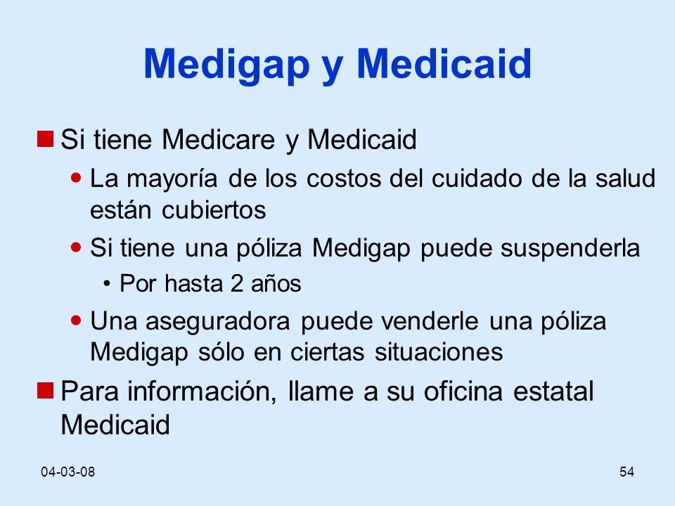 04-03-0854 Medigap y Medicaid Si tiene Medicare y Medicaid La mayoría de los costos del cuidado de la salud están cubiertos Si tiene una póliza Medigap puede suspenderla Por hasta 2 años Una aseguradora puede venderle una póliza Medigap sólo en ciertas situaciones Para información, llame a su oficina estatal Medicaid