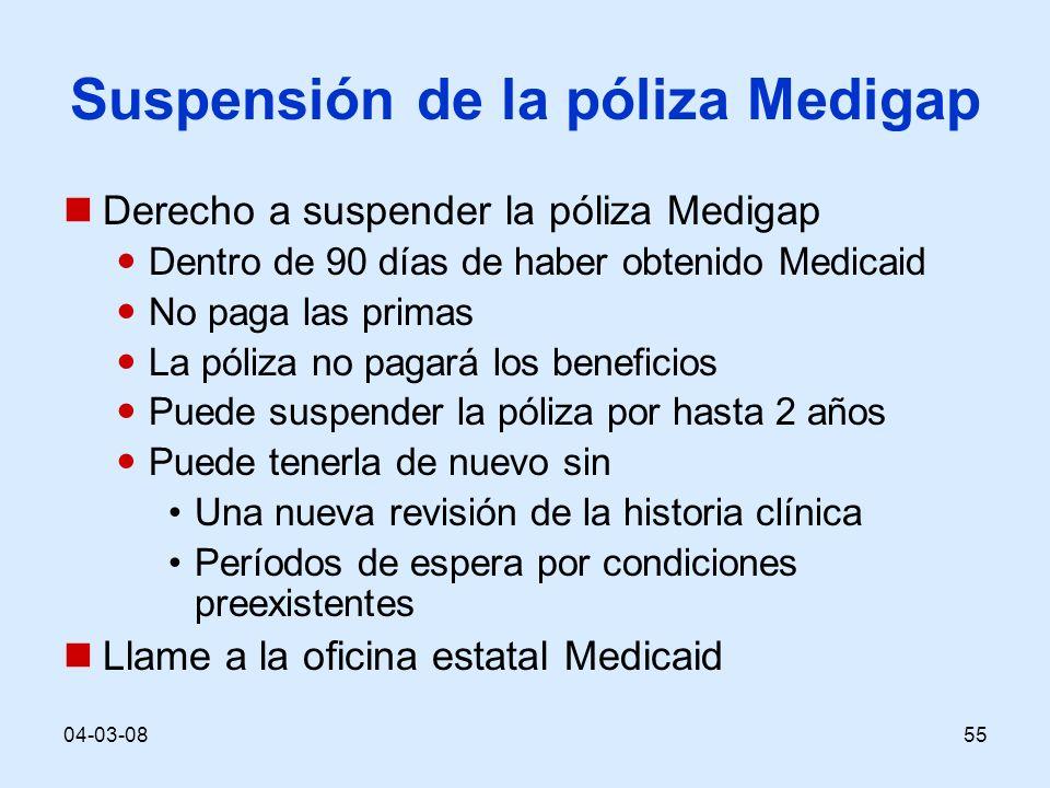 04-03-0855 Suspensión de la póliza Medigap Derecho a suspender la póliza Medigap Dentro de 90 días de haber obtenido Medicaid No paga las primas La pó