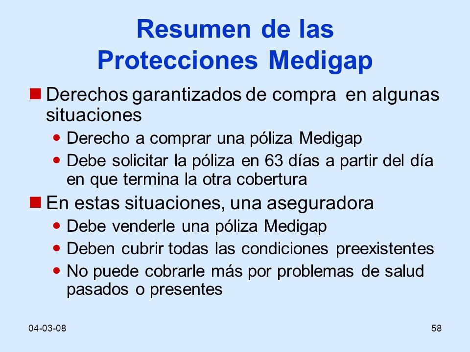 04-03-0858 Resumen de las Protecciones Medigap Derechos garantizados de compra en algunas situaciones Derecho a comprar una póliza Medigap Debe solici