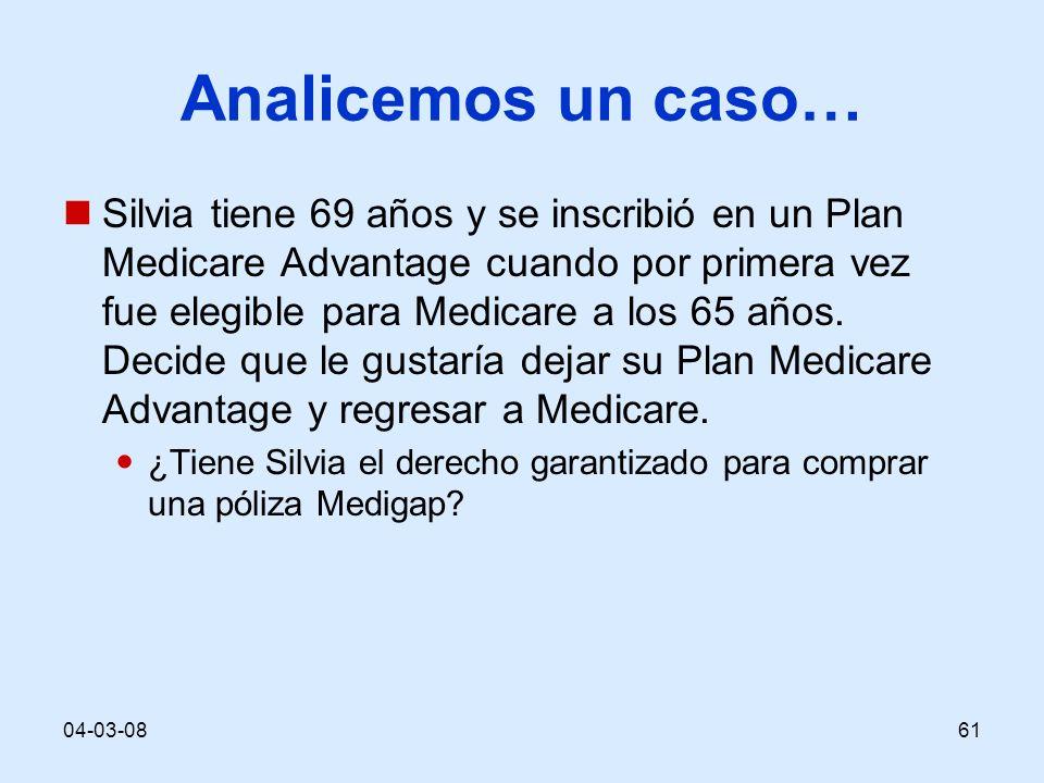 04-03-0861 Analicemos un caso… Silvia tiene 69 años y se inscribió en un Plan Medicare Advantage cuando por primera vez fue elegible para Medicare a los 65 años.