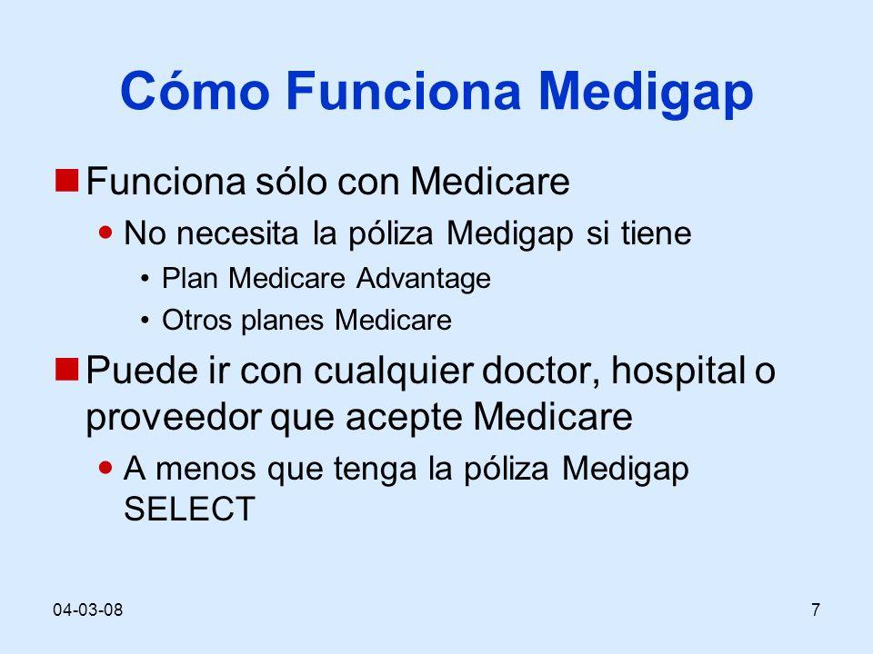 04-03-087 Cómo Funciona Medigap Funciona sólo con Medicare No necesita la póliza Medigap si tiene Plan Medicare Advantage Otros planes Medicare Puede ir con cualquier doctor, hospital o proveedor que acepte Medicare A menos que tenga la póliza Medigap SELECT