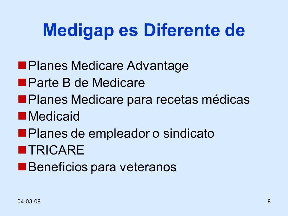 04-03-088 Medigap es Diferente de Planes Medicare Advantage Parte B de Medicare Planes Medicare para recetas médicas Medicaid Planes de empleador o sindicato TRICARE Beneficios para veteranos