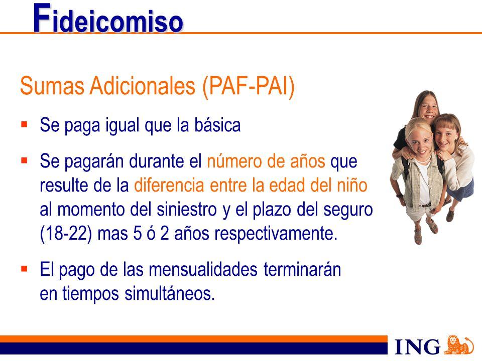 F ideicomiso Sumas Adicionales (PAF-PAI) Se paga igual que la básica Se pagarán durante el número de años que resulte de la diferencia entre la edad d