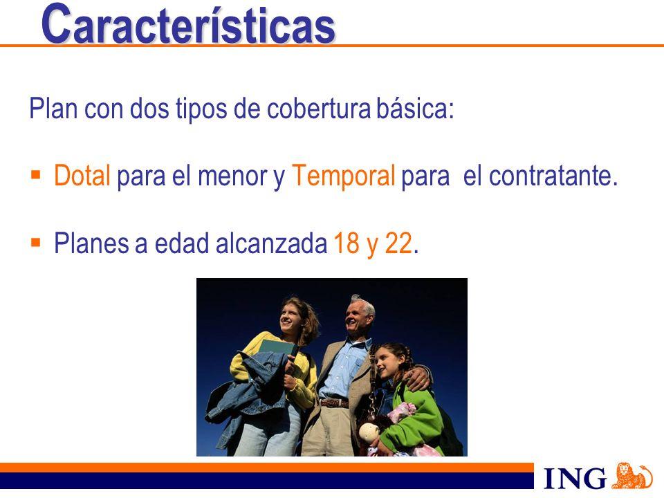 C aracterísticas Plan con dos tipos de cobertura básica: Dotal para el menor y Temporal para el contratante. Planes a edad alcanzada 18 y 22.