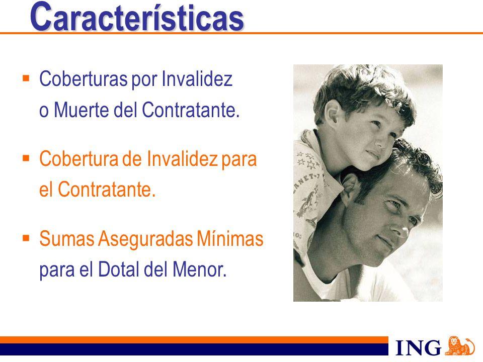 Coberturas por Invalidez o Muerte del Contratante. Cobertura de Invalidez para el Contratante. Sumas Aseguradas Mínimas para el Dotal del Menor. C ara