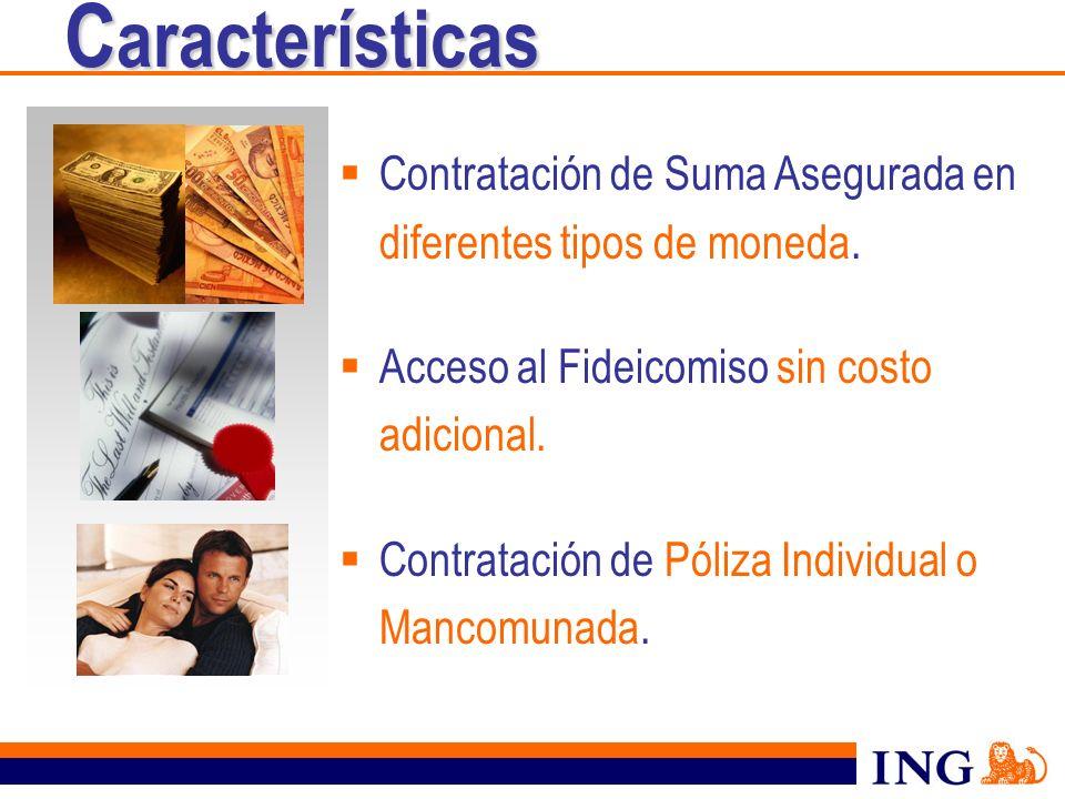 Contratación de Suma Asegurada en diferentes tipos de moneda. Acceso al Fideicomiso sin costo adicional. Contratación de Póliza Individual o Mancomuna
