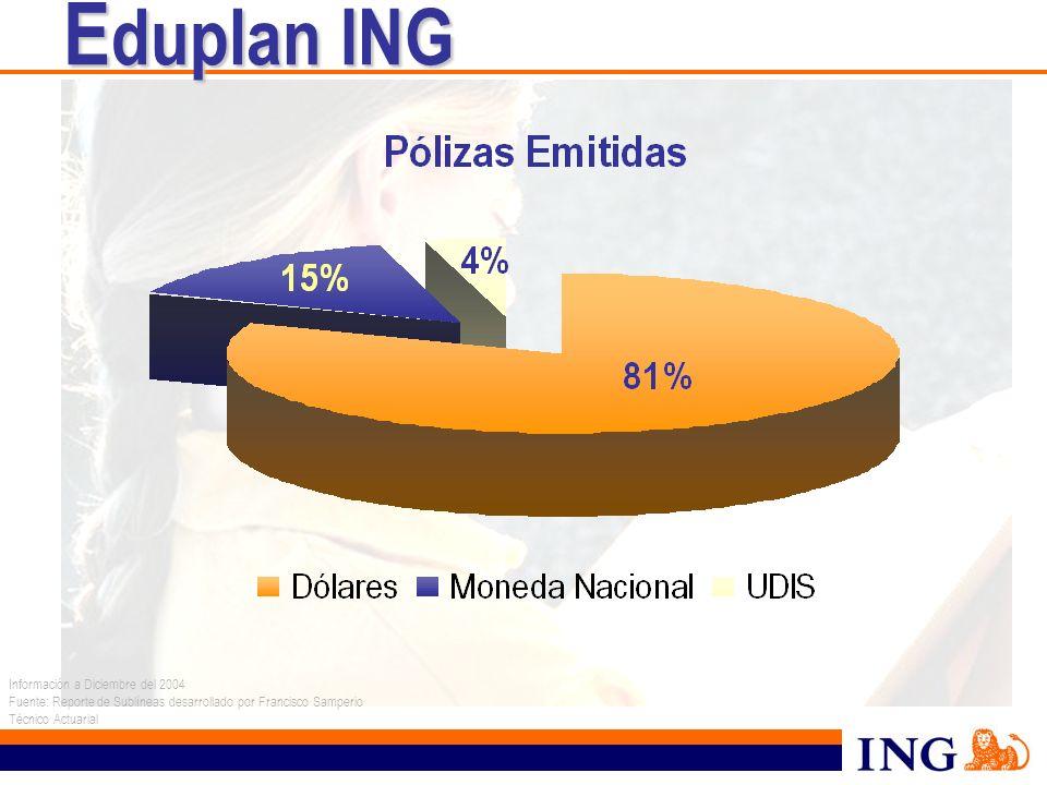 Información a Diciembre del 2004 Fuente: Reporte de Sublíneas desarrollado por Francisco Samperio Técnico Actuarial E duplan ING