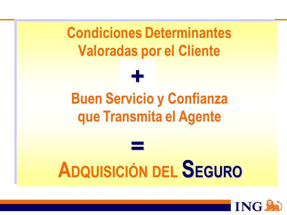 Condiciones Determinantes Valoradas por el Cliente Buen Servicio y Confianza que Transmita el Agente + = S EGURO A DQUISICIÓN DEL S EGURO