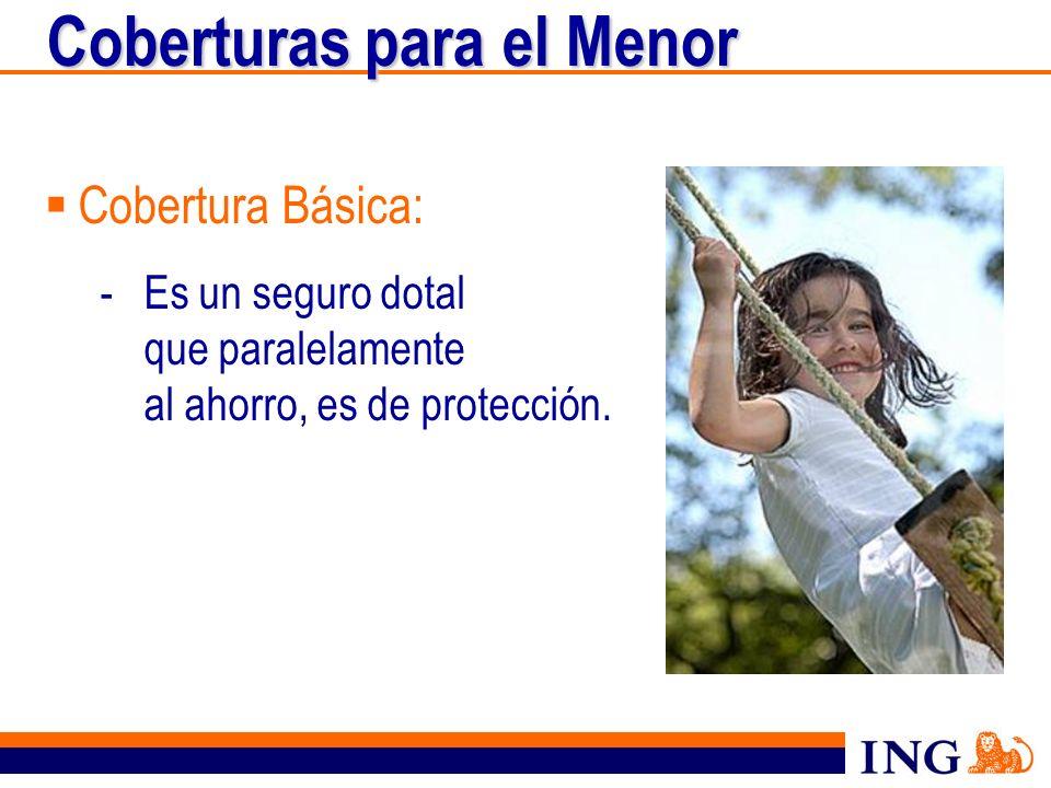 Coberturas para el Menor Cobertura Básica: -Es un seguro dotal que paralelamente al ahorro, es de protección.