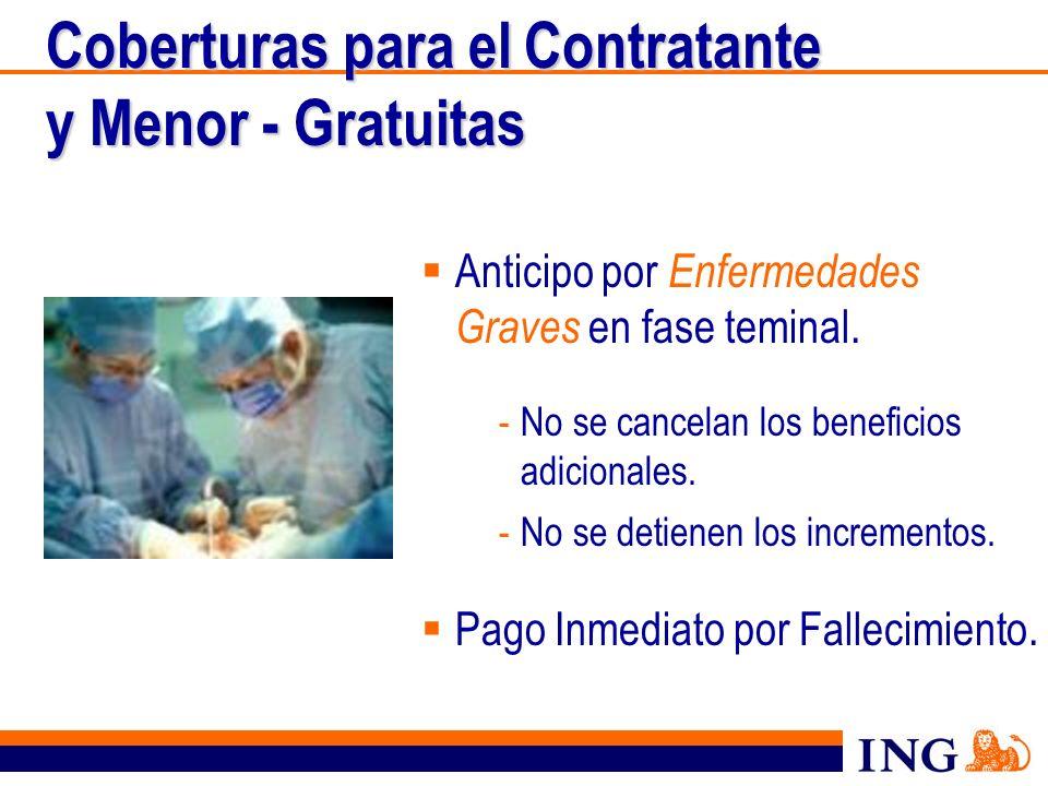 Coberturas para el Contratante y Menor - Gratuitas Anticipo por Enfermedades Graves en fase teminal. -No se cancelan los beneficios adicionales. -No s