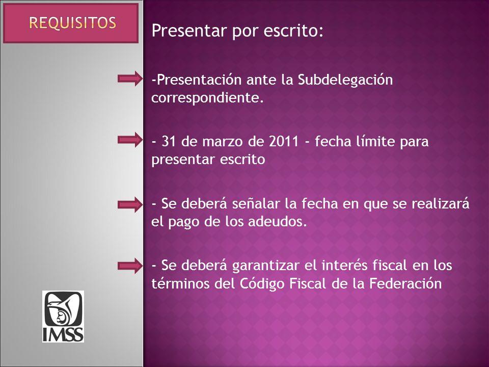 Presentar por escrito: -Presentación ante la Subdelegación correspondiente. - 31 de marzo de 2011 - fecha límite para presentar escrito - Se deberá se