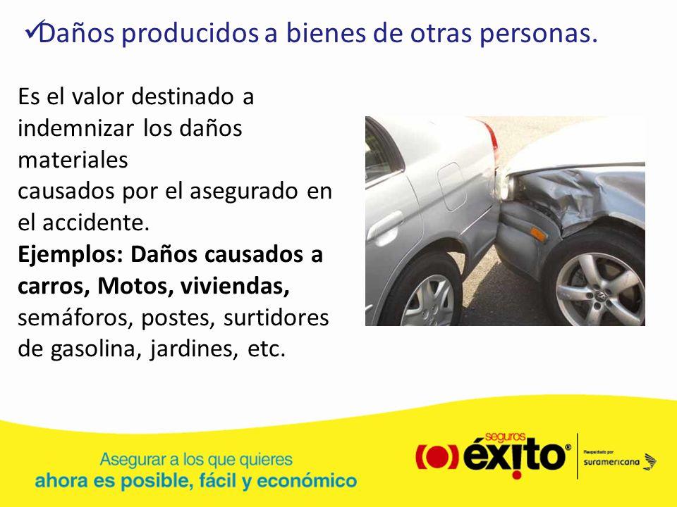 Es el valor destinado a indemnizar los daños materiales causados por el asegurado en el accidente. Ejemplos: Daños causados a carros, Motos, viviendas