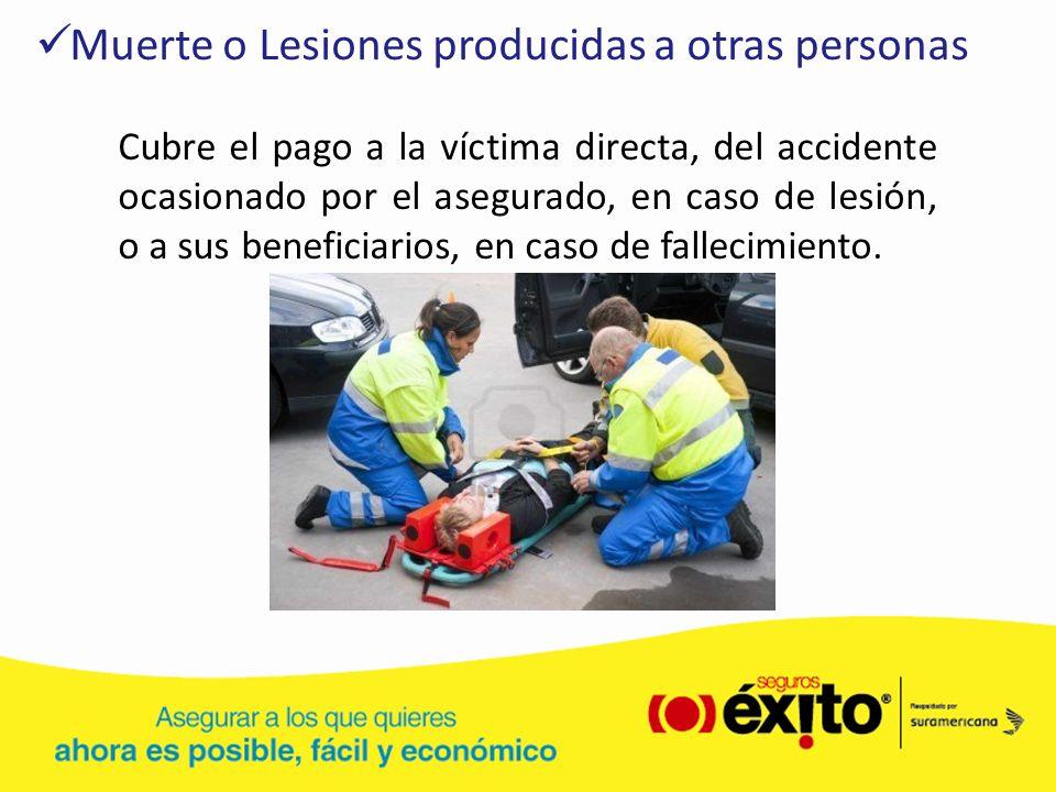 Muerte o Lesiones producidas a otras personas Cubre el pago a la víctima directa, del accidente ocasionado por el asegurado, en caso de lesión, o a su