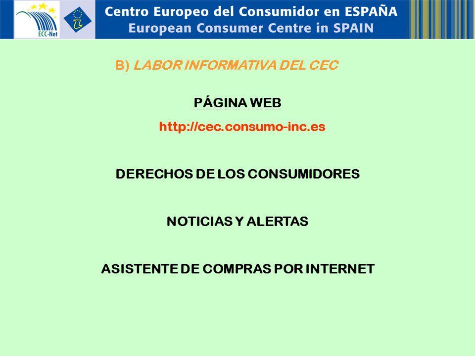 B) LABOR INFORMATIVA DEL CEC PÁGINA WEB http://cec.consumo-inc.es DERECHOS DE LOS CONSUMIDORES NOTICIAS Y ALERTAS ASISTENTE DE COMPRAS POR INTERNET