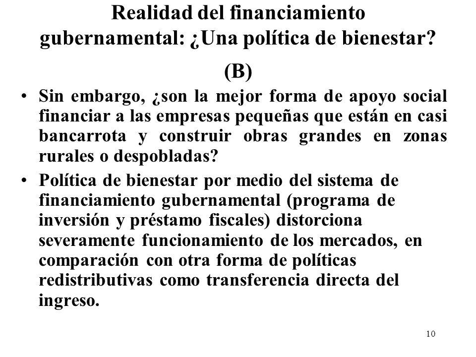 10 Realidad del financiamiento gubernamental: ¿Una política de bienestar.