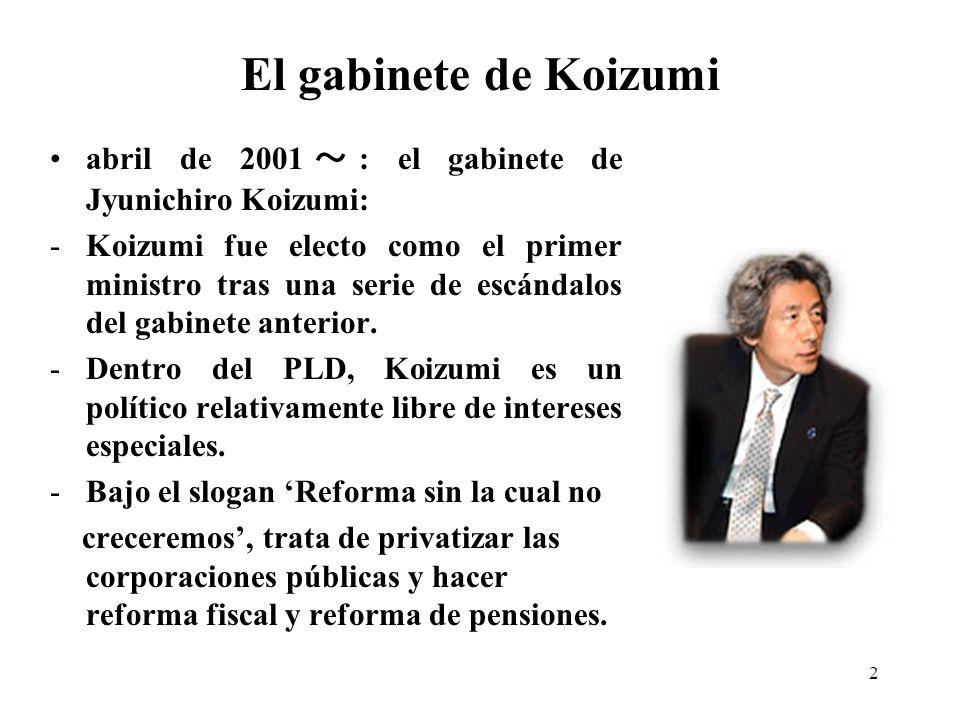2 El gabinete de Koizumi abril de 2001 : el gabinete de Jyunichiro Koizumi: -Koizumi fue electo como el primer ministro tras una serie de escándalos del gabinete anterior.