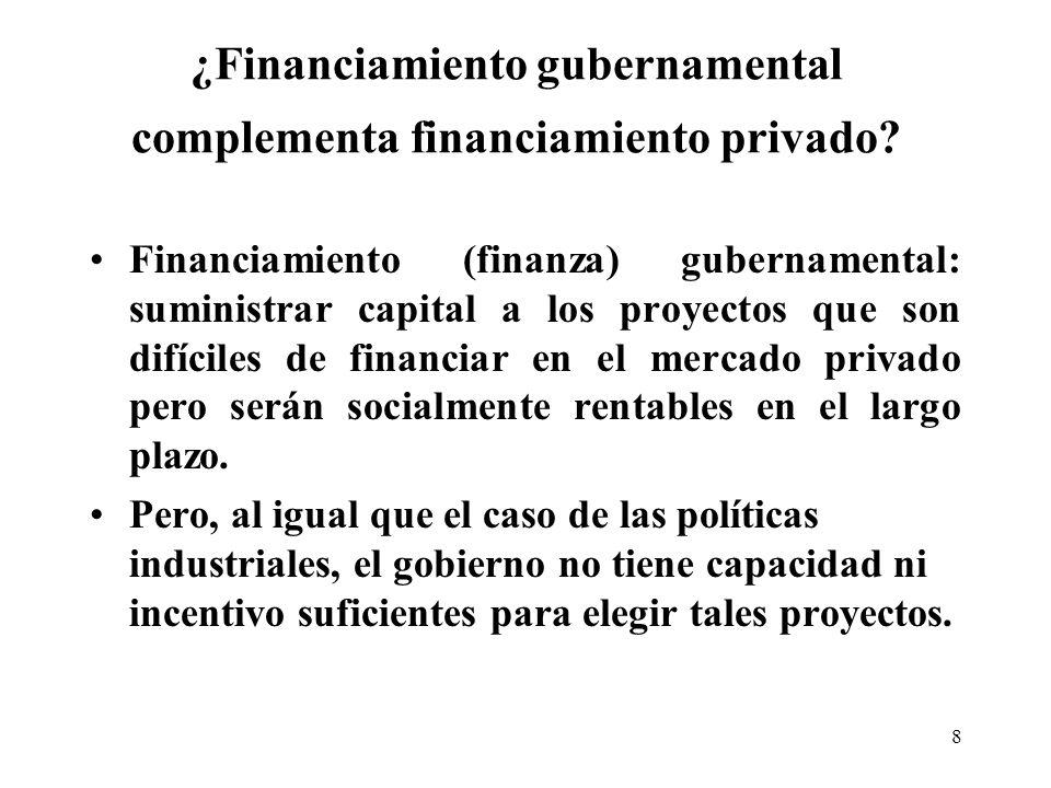 8 ¿Financiamiento gubernamental complementa financiamiento privado.