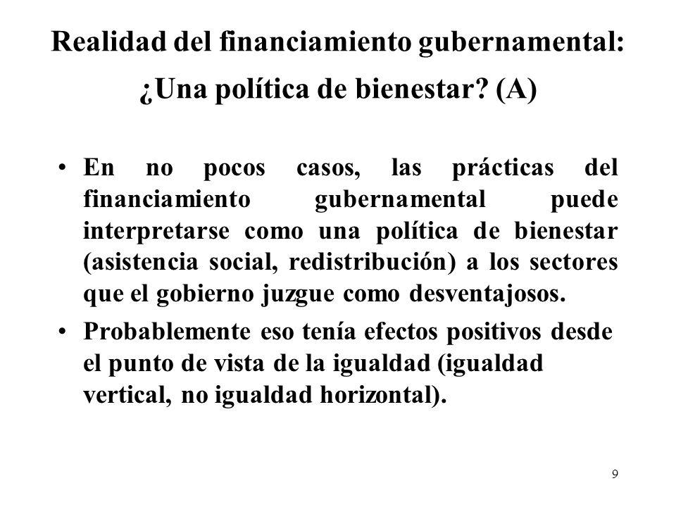 9 Realidad del financiamiento gubernamental: ¿Una política de bienestar.
