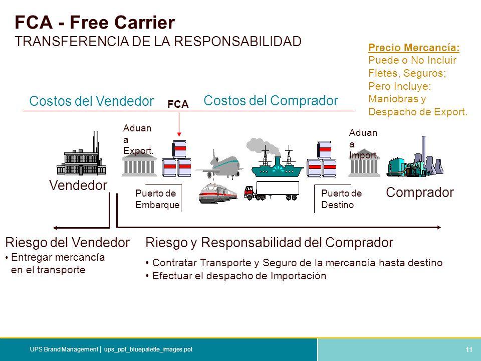 11 ups_ppt_bluepalette_images.potUPS Brand Management FCA - Free Carrier TRANSFERENCIA DE LA RESPONSABILIDAD Riesgo y Responsabilidad del Comprador Co