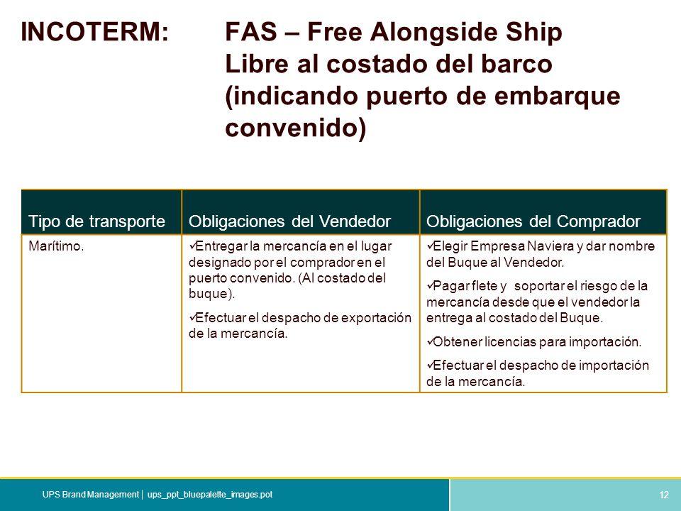 12 ups_ppt_bluepalette_images.potUPS Brand Management INCOTERM: FAS – Free Alongside Ship Libre al costado del barco (indicando puerto de embarque con