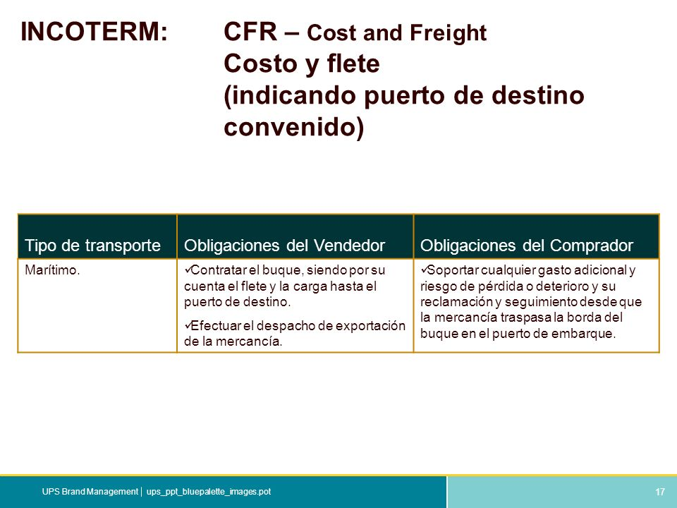17 ups_ppt_bluepalette_images.potUPS Brand Management INCOTERM: CFR – Cost and Freight Costo y flete (indicando puerto de destino convenido) Tipo de t