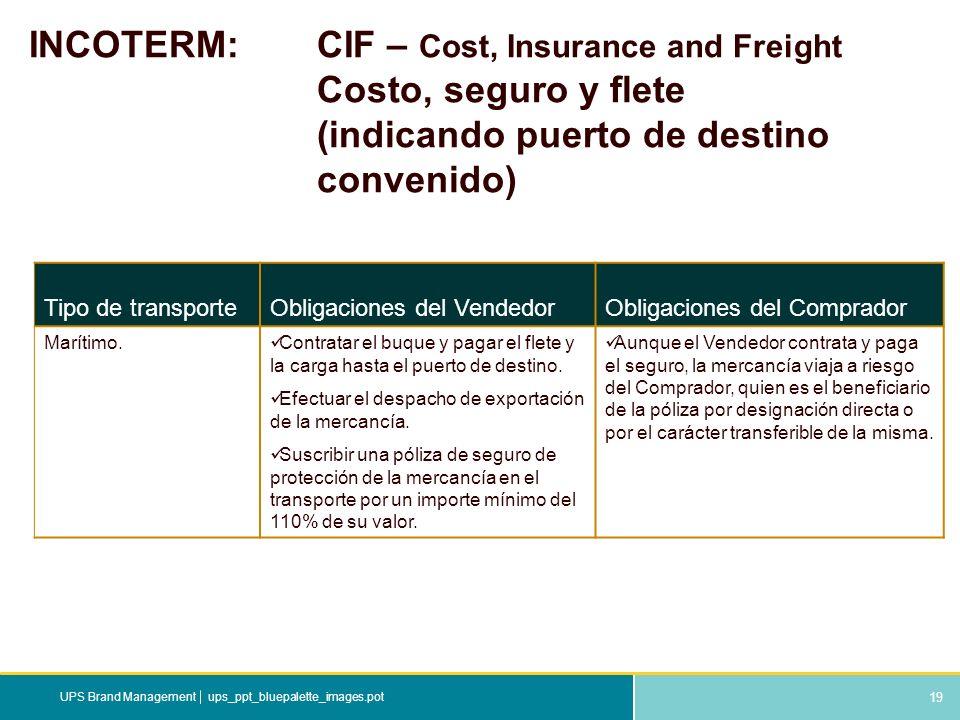 19 ups_ppt_bluepalette_images.potUPS Brand Management INCOTERM: CIF – Cost, Insurance and Freight Costo, seguro y flete (indicando puerto de destino c
