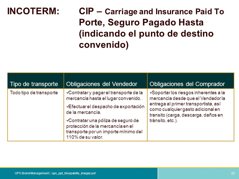 23 ups_ppt_bluepalette_images.potUPS Brand Management INCOTERM: CIP – Carriage and Insurance Paid To Porte, Seguro Pagado Hasta (indicando el punto de