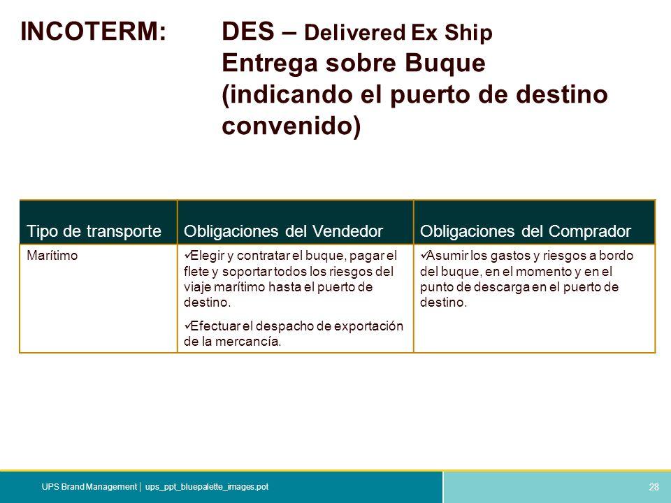 28 ups_ppt_bluepalette_images.potUPS Brand Management INCOTERM: DES – Delivered Ex Ship Entrega sobre Buque (indicando el puerto de destino convenido)