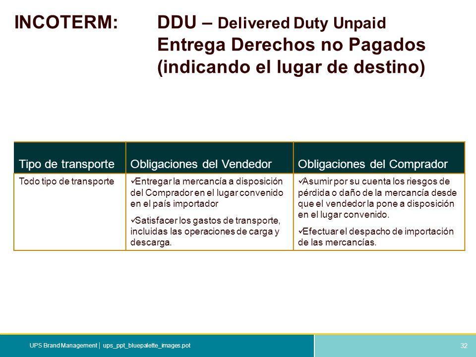 32 ups_ppt_bluepalette_images.potUPS Brand Management INCOTERM: DDU – Delivered Duty Unpaid Entrega Derechos no Pagados (indicando el lugar de destino