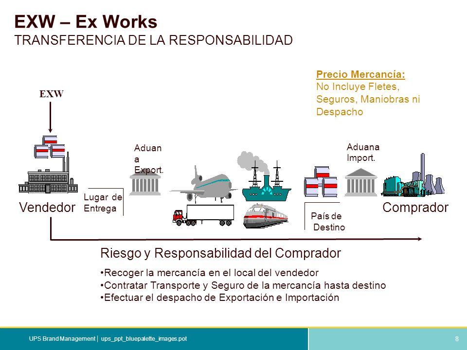 8 ups_ppt_bluepalette_images.potUPS Brand Management EXW – Ex Works TRANSFERENCIA DE LA RESPONSABILIDAD Riesgo y Responsabilidad del Comprador Recoger