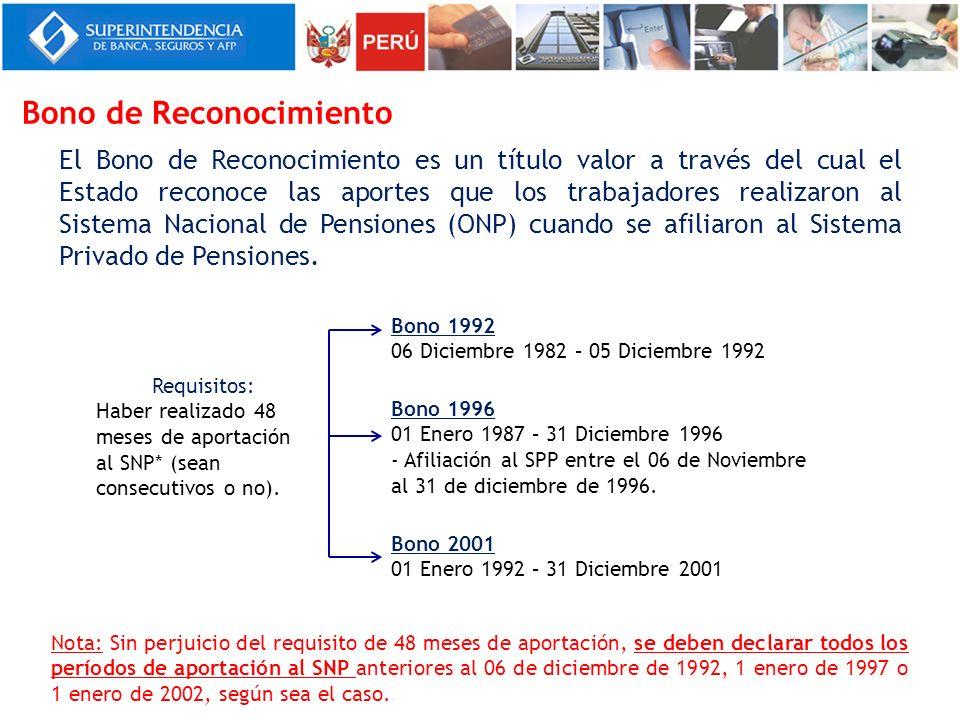 El Bono de Reconocimiento es un título valor a través del cual el Estado reconoce las aportes que los trabajadores realizaron al Sistema Nacional de P