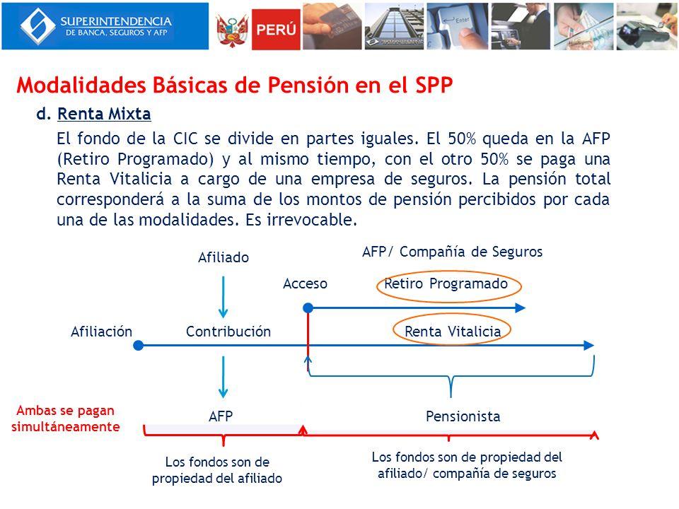 d. Renta Mixta El fondo de la CIC se divide en partes iguales. El 50% queda en la AFP (Retiro Programado) y al mismo tiempo, con el otro 50% se paga u