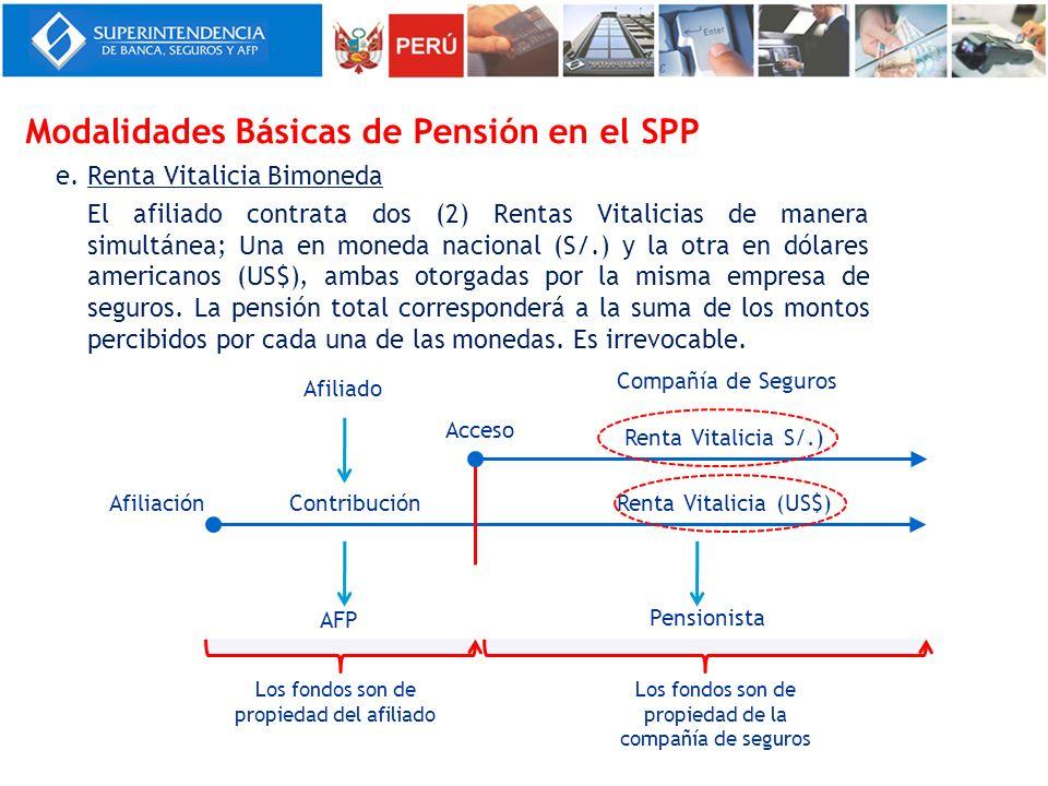 e. Renta Vitalicia Bimoneda El afiliado contrata dos (2) Rentas Vitalicias de manera simultánea; Una en moneda nacional (S/.) y la otra en dólares ame