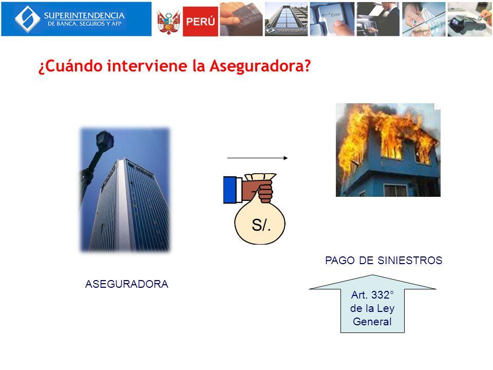PAGO DE SINIESTROS ASEGURADORA Art. 332° de la Ley General ¿Cuándo interviene la Aseguradora? S/.